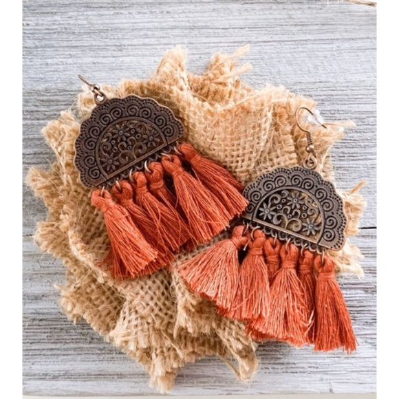 Jewelry - boho fall rust tassel fringe earrings
